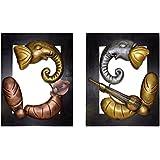 HandyMandyCrafts Iron Lord Ganesha Wall Hangings - Pack Of 2 - (36 Cm X 3 Cm X 46 Cm)