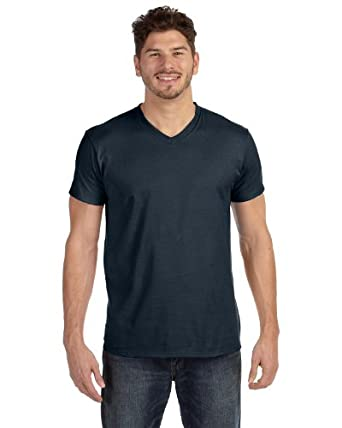 Hanes 498V 100% Ringspun Cotton V Neck T Shirt - Vintage Black - 'S