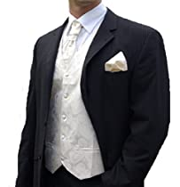 Paul Malone Wedding Vest Set Cream 5pcs Tuxedo Vest + Necktie + Ascot + Hanky + 2 Cufflinks M