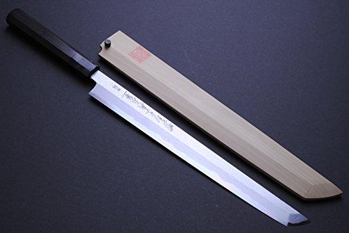 """Yoshihiro Suminagashi (Blue Steel#1) Sakimaru Takobiki Ebony Handle Sushi Sashimi Slicing Japanese Chef Knife 11.8""""(300Mm)"""