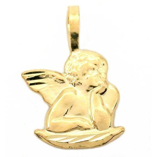 14K Gold Charm Guardian Angel Pendant Necklace Jewelry