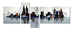 Wieco Art - Beautiful City Large 5 panels 100% Hand Painted Modern Gallery Wrapped Contemporary Cityscape Oil Paintings on Canvas Wall Art Work Ready to Hang for Living Room Office Decorations XL