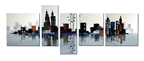 Wieco Art - Beautiful City 5 panels 100% Hand-painted Modern Oil Paintings Canvas Wall Art for Wall Decor, Stretched and Framed Artwork, Abstract Citysacpe Oil Painting on Canvas Art for Home Decoration 5pcs/set I