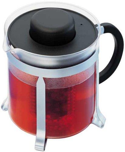 Bodum Oolong  Medium Tea Pot, Black Plastic Lid And Stainless Steel Frame, 1.0-Litre, 34-Ounce