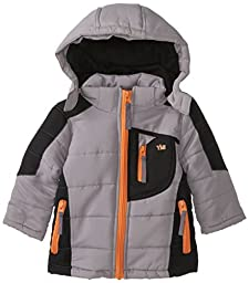 YMI Baby Boys\' Hooded Color Block Bubble Jacket with Detachable Hood, Grey, 18 Months