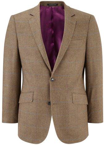 Austin Reed Brown/Blue Cashmere-Mix Tweed Jacket SHORT MENS 40