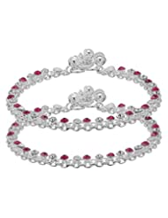 Voylla Pair Of Silver Toned Anklets Glittering With Pink-White Stones