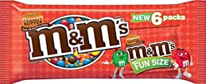 M & M Peanut Butter Chocolate Candies Fun Size 3.68oz (New 6 Pack Bag)