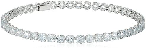 14k White Gold Round Genuine Aquamarine Tennis Bracelet, 7""