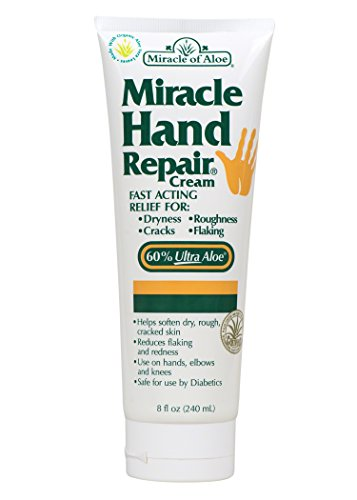 Miracle of Aloe Miracle Hand Repair Cream 8 Oz Relieve Dry, Cracked, Flaking Hands Immediately! Therapeutic Formula Contains 60% Ultra Aloe - The Purest Most Potent Form of Whole Leaf Aloe Vera Gel. Fast Acting Relief, Say Good Bye to Dry, Cracked Hands Now! Keep Your Hands Healthy & Warm this Winter! Reduces Flaking and Redness, Use on Hands, Elbows and Knees, Exclusive Fast Acting Formula Penetrates Deep Into Damaged Skin Layers to Moisturize Where It's Needed Most. (Miracle Hand Cream compare prices)
