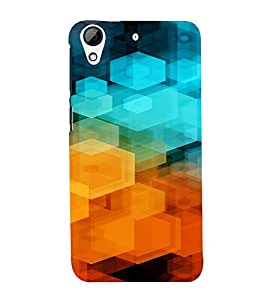 PrintVisa Color Block Prisma Pattern 3D Hard Polycarbonate Designer Back Case Cover for HTC Desire 626