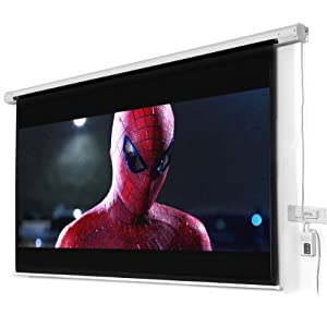 100 Diagonal 16:9 Electric Projector Projection Screen Remote 1.3 Gain 160 Angle