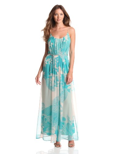 Charlie Jade Women's Sleeveless Maxi Dress, Teal, Small