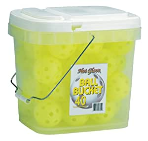 Hot Glove Ball Bucket with 40 Optic Yellow Practice Baseballs (Colors May Vary)