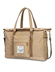 Amatory Unisex Vintage Canvas Travel Duffel Tote Weekend Travel Shoulder DuffelBag Handbag