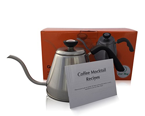 Gooseneck Pour Over Coffee Drip Kettle with Thermometer Stainless 1.2l plus Coffee Mocktail Recipes