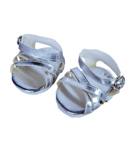 """Silver Shine"" Sandals w/Buckle clothes fits 12"" Snuggl'ems, 8"" - 10"" Stuffed Animal kits & most Webkinz & Shining Star animals"