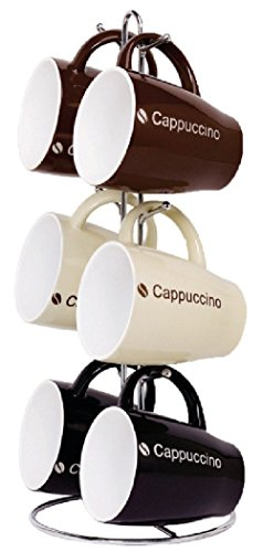 The Good Morning Collection By Naturally Home - 6 Piece Mug Set With Stand (Cappuccino)