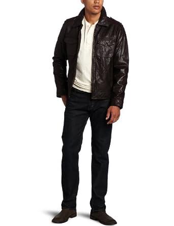 (疯抢)李维斯 Levi's Leather Two-Pocket Fashion男士时尚 真皮皮衣夹克 $215.99