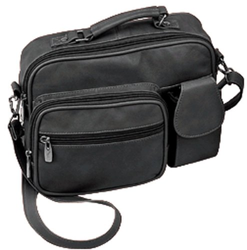 Roma Genuine Black Leather Organizer Bag Handbag