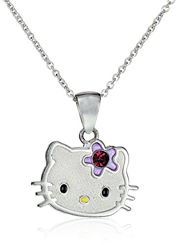 Hello-Kitty-Girls-Sterling-Silver-Simulated-Birthstone-Pendant-Necklace-18