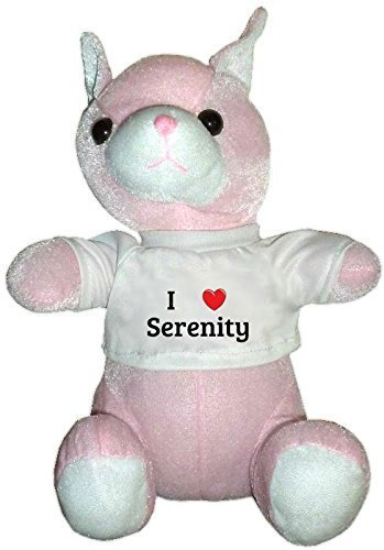Pink Plush Cat Toy in I heart Serenity t-shirt (first name, last name, nickname) by AAA Nagy