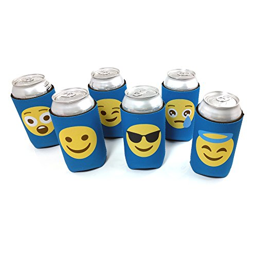 Emoji Beer Can Insulators, 6 pack, Blue Assorted Collapsible Coolers for Cans and Bottles, Double Sided (49ers Beer Bottle Cooler compare prices)