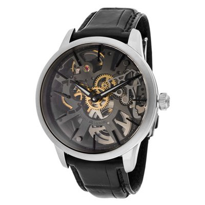 Maurice Lacroix Masterpiece Squelette Mechanical Gunmetal Crocodile Men's Watch MP7138-SS001-030