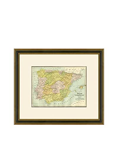 Vintage Print Gallery Antique Map Of Spain & Portugal 1883-1903, Multi, 18.5 x 21.5