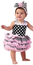 Tres Jolie Ribbon Ruffle Sundress, 0-6 Month, Black/White