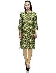 Plus Size Designer Green Cotton Floral Printed Shirt Collar Kurti