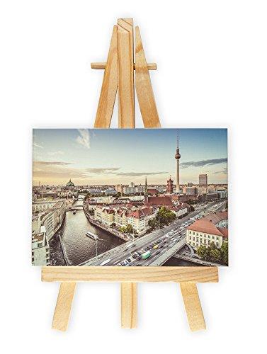 Skyline-von-Berlin-am-Morgen-Format-7x10-cm-Minileinwandbild-inkl-Staffelei-kreativer-Dekoartikel-Geschenkartikel-fr-jeden-Anlass-Sehr-schn-im-Bro-Wohnzimmer-Kinderzimmer-Schlafzimmer-oder-Arbeitszimm