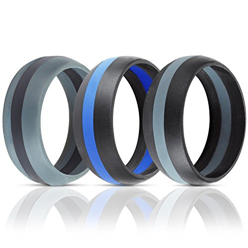 ThunderFit Silicone Wedding Band / Engagement Ring - 3 Rings Pack - 8.7mm Wide (2mm Thick) - Middle Line (7.5)