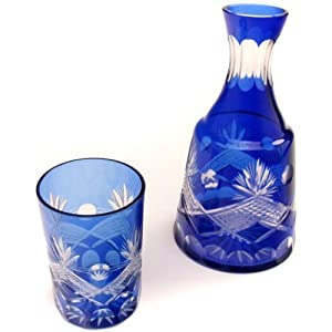 Cobalt Blue Cut Glass Carafe & Tumbler Set