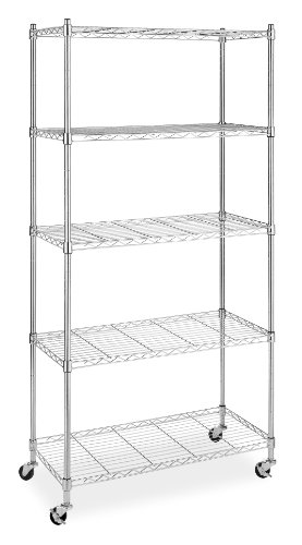 Whitmor 6056-3528 Supreme Chrome 5-Tier Shelving Unit with Wheels