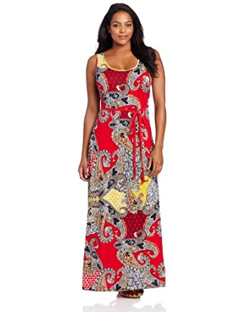 Lucky Brand Women's Plus-Size Marakesh Paisley Maxi Dress, Red/Multi, 2X
