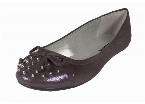 Typo! By Soda Edgy And Cute Bow Tie And Spike Studded Slip On Ballet Flats With Toe Glitter Cap Contrast, Charcoal Faux Suede, 6.5 M