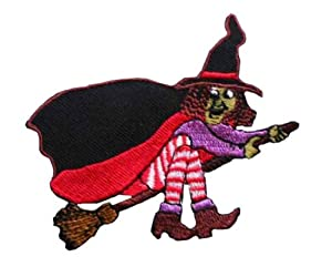 ID #0899 Witch Broomstick Halloween Embroidered Iron On Applique Patch