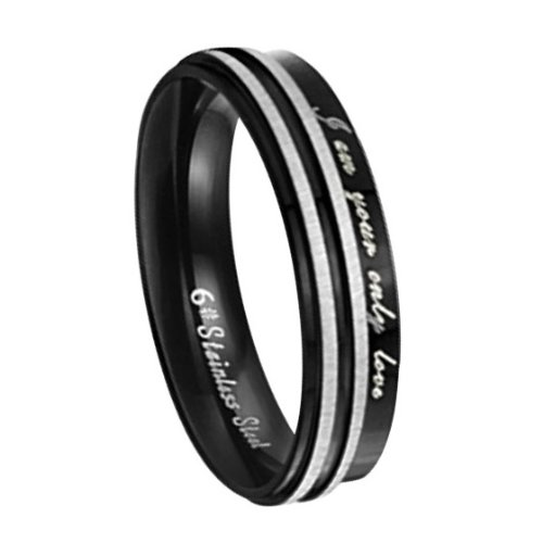 Fashion Black 316L Surgical Stainless Steel Couple Promise Rings Mens Ladies Birthday/Anniversary/engagement/wedding Bands (Laides' Size 7)