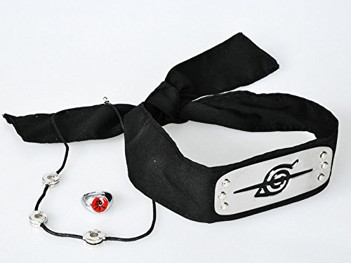 Naruto Uchiha Itachi Cosplay Head Band+ring+necklace Cosplay Accessories Set Mp002016