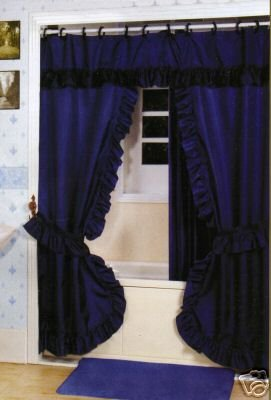 DOUBLE SWAG SHOWER CURTAIN, LINER & RINGS , NAVY BLUE