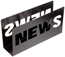 Present Time Metal News Magazine Rack, Black