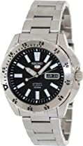 Seiko Black Dial Stainless Steel Mens Watch SRP357