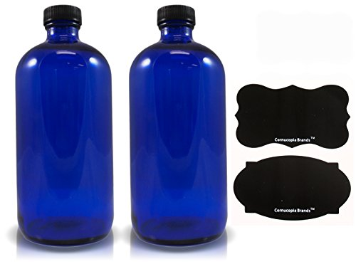 16oz Cobalt Glass Bottles with Reusable Chalk Labels(2 Pack), Refillable Glass Bottles, with Black Screw On Lid
