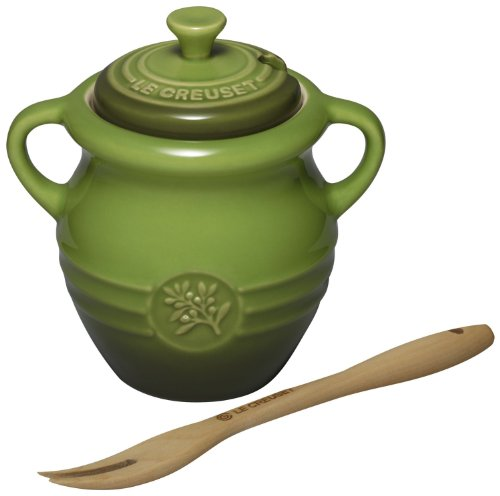Le Creuset Stoneware 12-Ounce Olive Jar with Wood Fork, Green