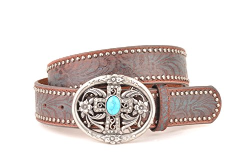 Womens Western Brown with Blue Embossement Leather Belt (L)