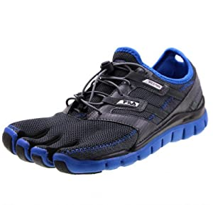 Fila Men's Skele-Toes Lite Barefoot Running Shoe, Castlerock / Black / Blue, US Size 10 M