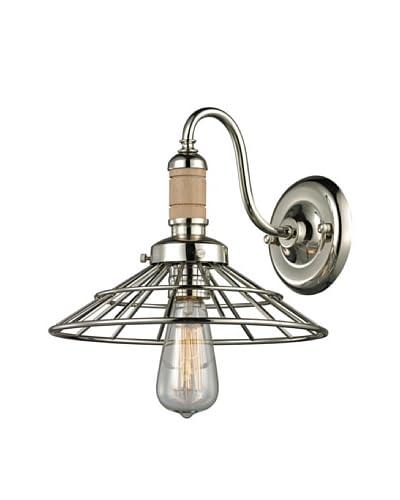 Artistic Lighting Spun Wood Collection 1-Light Sconce, Polished Nickel