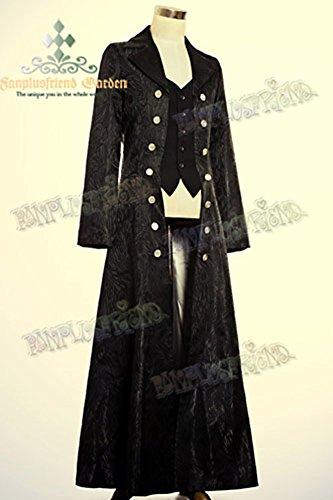Lungo cappotto nero elegante gotico aristocratico falso 2pcs