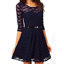 Uoften (TM) Sexy Spoon Neck 3/4 Sleeve Lace Skater Dress Belt 4 Color 3 Size (Medium, Blue)